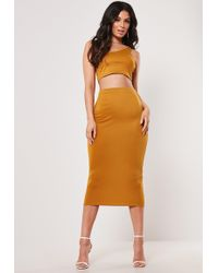 Missguided - Mustard Double Strap Crop Top And Midaxi Skirt Co Ord Set - Lyst