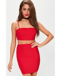22b9b6e9a7 Missguided - Petite Exclusive Red Bandage Ribbed Bralete - Lyst