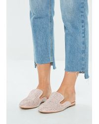 cd7d439983490b Missguided - Pink All Over Embellished Slip On Mule - Lyst