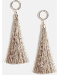 Missguided - Rose Gold Round Crystal Top Tassel Earrings - Lyst