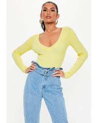 Missguided - Yellow Ribbed Plunge Knitted Bodysuit - Lyst 26a1305ab