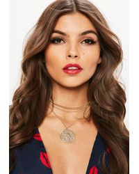 Missguided | Gold Pendant Circle Necklace | Lyst