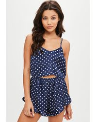 Missguided - Navy Polka Dot Satin Shorts Pyjama Set - Lyst