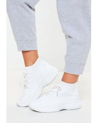 Missguided - White Knitted Lace Up Sock Trainers - Lyst