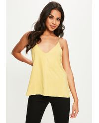 Missguided - Yellow Suedette Cami Top - Lyst