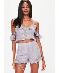 Missguided - Grey Burnout Floral Mesh Strappy Crop Top - Lyst