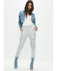 Missguided - Grey Diamante Insert Joggers - Lyst
