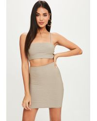 Missguided - Grey Bandage Crop Top - Lyst