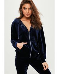 Missguided | Navy Velour Tracksuit Top | Lyst