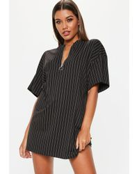Missguided - Black Oversized Zip Pinstripe T Shirt Dress - Lyst