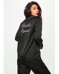 Missguided - Black Bride Squad Satin Pyjama Set - Lyst