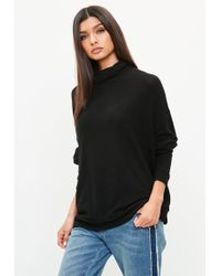 Missguided - Black Brushed Roll Neck Oversized Longline Top - Lyst