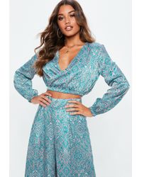 Missguided - Blue Paisley Wrap Over Crop Top - Lyst