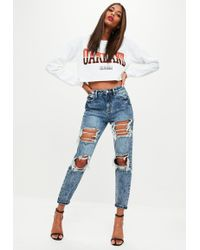 Missguided - Blue Riot High Rise Open Rip Mom Jeans - Lyst
