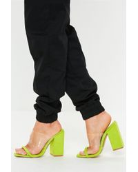 41277b37802 Missguided - Neon Lime Faux Suede Clear Block Heel Sandals - Lyst