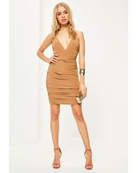 Missguided - Camel Slinky Double Strap Ruched Bodycon Dress - Lyst