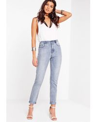 Missguided - Riot High Rise Mom Jean Stonewash - Lyst