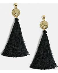 Missguided - Gold Look Coin Drop Black Tassel Earrings - Lyst