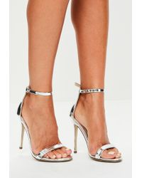 Missguided - Silver Two Strap Barley There Heels - Lyst