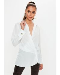 1a4ebb373aea1 Missguided Lace Long Sleeve Scalloped Crop Top White in White - Lyst
