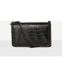 Missguided - Chain Trim Croc Cross Body Bag Black - Lyst