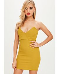 Missguided - Mustard Yellow Crepe Bodycon Dress - Lyst