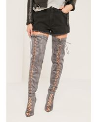 e3919dbcb782 Missguided - Grey Lace Up Thigh High Gladiator Boots - Lyst