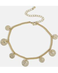 Missguided - Gold Look Mini Coin Anklet - Lyst
