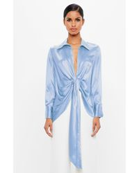 Missguided - Peace + Love Blue Satin V Neck Blouse - Lyst