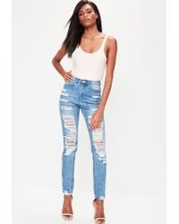 Missguided - Blue Riot High Rise Ripped Mom Jeans - Lyst