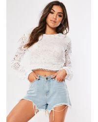 90d9365bbb247 Lyst - Missguided Long Sleeve Striped Lace Crop Top Blush in Pink