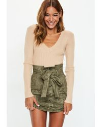 Missguided - Khaki Faux Suede Paperbag Waist Mini Skirt - Lyst