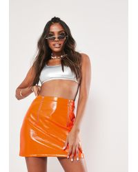 Missguided - Neon Orange Faux Leather Mini Skirt - Lyst