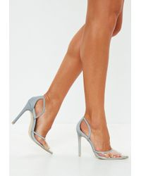 Missguided - Grey Reflective Seam Clear Toe Court Heels - Lyst