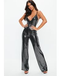 d13c6238f75 Missguided Silver Circle Sequin Jumpsuit in Metallic - Lyst