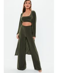 Missguided - Khaki Slinky 3 Piece Co Ord Set - Lyst