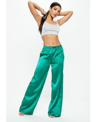 Missguided - Green Satin Wide Leg Tie Waist Pants - Lyst
