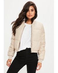 Missguided - Nude Faux Leather Padded Jacket - Lyst