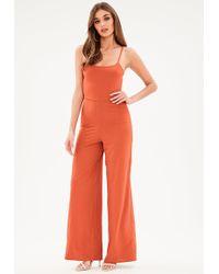 Missguided - Orange Low Back Jumpsuit - Lyst