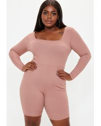 Missguided - Plus Size Pink Rib Long Sleeve Unitard - Lyst