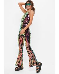 Missguided - Black Sequin 90s Neck Kickflare Jumpsuit - Lyst