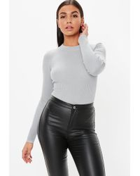 Missguided - Gray Crew Neck Ribbed Knitted Bodysuit - Lyst