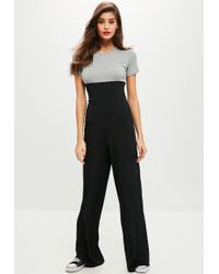 Missguided | Grey Corset Ribbed Jumpsuit | Lyst