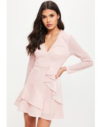 Missguided - Pink Airtex Plunge Skater Dress - Lyst
