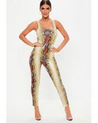 7971c692ec3 Missguided - Brown Snake Print Slim Leg Jumpsuit - Lyst