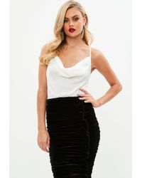 Missguided - White Satin Strappy Cowl Front Bodysuit - Lyst