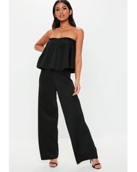 aae3ea1ffcf Missguided - Tall Black Bandeau Frill Wide Leg Jumpsuit - Lyst