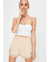 Missguided - Nude Gold Embroidered Shirred Waist Shorts - Lyst