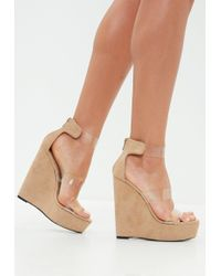 Missguided - Nude Faux Suede Three Strap Perspex Platform Wedge Sandals - Lyst