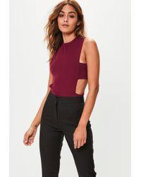 Missguided - Tall Burgundy Tab Side Bodysuit - Lyst